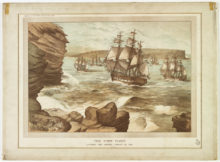 The_First_Fleet_entering_Port_Jackson,_January_26,_1788,_drawn_1888